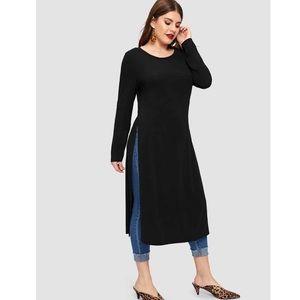 Eien USA Tops - Long Sleeve Black Shirt w/Side Slits